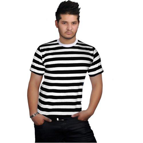 (S) Men Women Black White Stripe T-Shirt Robber Fancy Dress Top