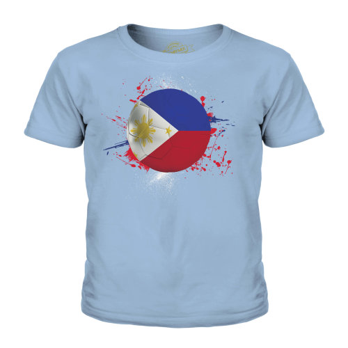 (Sky Blue, 11-12 Years) Candymix - Philippines Football - Unisex Kid's T-Shirt