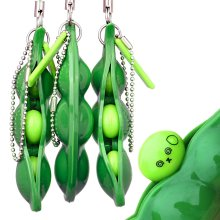 ZhengYue Squeeze Bean Keychain Fidget Toys Squishy Pea Pod Stress Toy Bring Fun for Kids and Adluts with Reduce Anxiety and Stress,Squeeze-a-Bean...