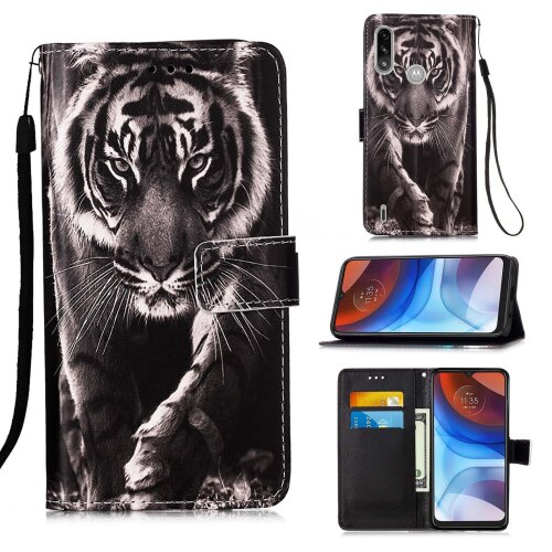 Motorola Moto G8 Power Lite Painted Leather Case Tiger