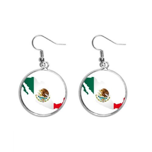 Red Green Mexico Map Emblem Eagle Eat Snake Ear Dangle Silver Drop Earring Jewelry Woman