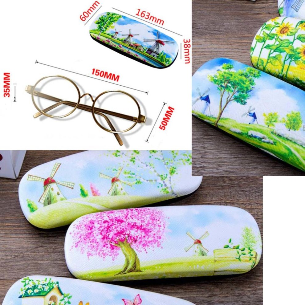 08 PU Leather Hard Shell Eyeglass Case Glasses Storage Case Protective Case for Glasses Four Leaf Clover