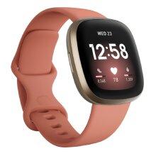 FitBit Versa 3 Health and Fitness Smartwatch - Pink / Soft Gold Aluminium