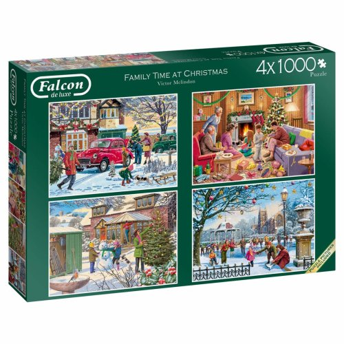 Jumbo Falcon de Luxe - Family Time at Christmas 4 x 1000 Piece Jigsaw Puzzles