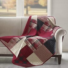 Woolrich Sunset Luxury Quilted Throw Red 50x70   Plaid Premium Soft Cozy 100% Cotton For Bed Couch or Sofa