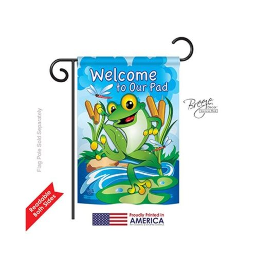 Breeze Decor 60041 Pets Frog 2-Sided Impression Garden Flag - 13 x 18.5 in.