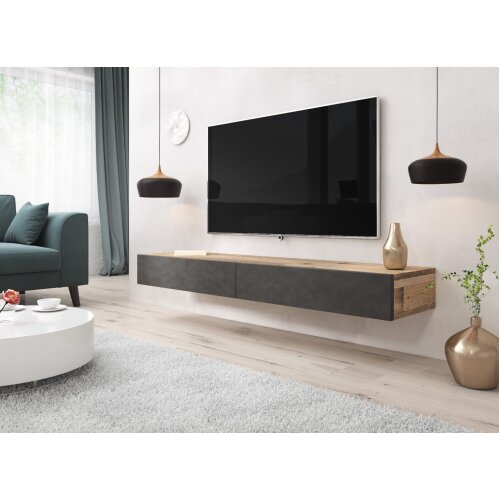 E-com Floating TV Unit  Sierra - 140 cm, Old Light Wood / Anthracite