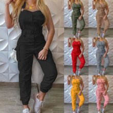Women Solid Belted Jumpsuits Playsuit Ladies Summer Cargo Pocket Romper Trousers