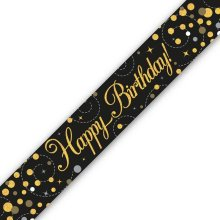 Holographic Black & Gold Birthday Banners