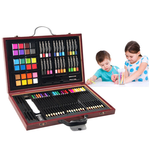 80Pcs Deluxe Art Creativity Set Children Kids Painting Drawing Wooden