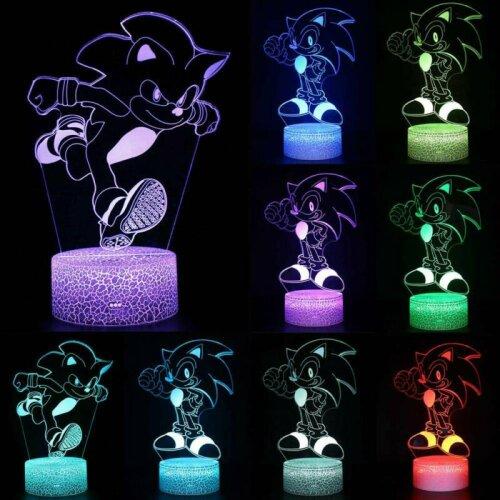 3D LED Lamp Night Light 7 Colour SONIC SEGA HEDGEHOG Touch Home Kids Room Lamp
