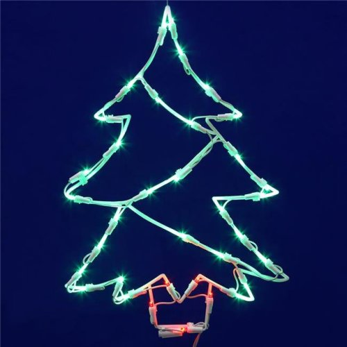 LED Tree Window Lighted Decor with Green, Red Lights - 18 x 12 in.