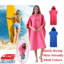 Adults Hooded Changing Robe Beach Terry  Poncho Towel Swimming Surf