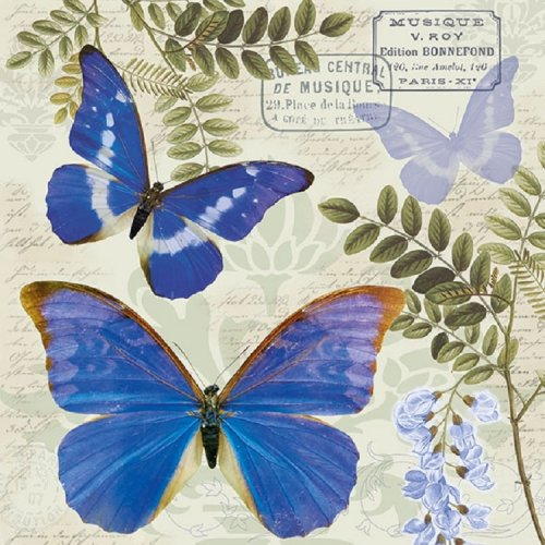 4 x Paper Napkins - Blue Butterfly - Ideal for Decoupage / Napkin Art