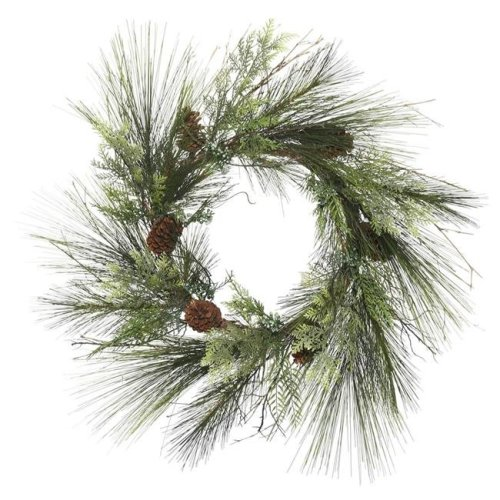 Vickerman G175636 36 in. Mixed Cedar Green Pine Wreath with 96 Tips Light