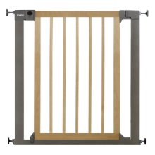 Lindam Sure Shut Deco Safety Gate - Natural Wood & Silver Metal