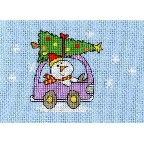 Bothy Threads Cross Stitch Kit - Christmas cards : Dashing Through the Snow Xmas1