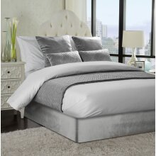 Soft French Velvet Divan Bed Base Wrap Silver Grey