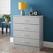 Grey Finish Lokken 4 Drawer Chest Store Away all of Your Clothes W60 x D30 x H70cm (Approx.)