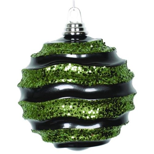 Vickerman M132082 Black Lime Candy Glitter Wave Ball Ornament - 6 in.
