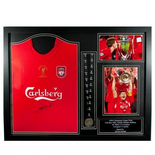 Liverpool F.C. 2005 Steven Gerrard Signed Shirt Istanbul (Framed)
