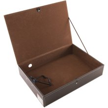Osco Faux Leather Box File Button Catch Securing Lid Clamping Brown