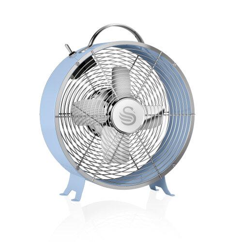 """Swan Retro 8"""" Blue Oscillating Clock Fan   Retro Desk Fan"""