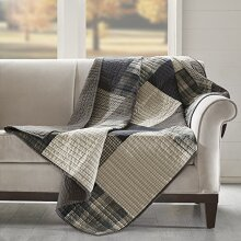 Woolrich Winter hills Luxury Quilted Throw Tan Gray 50x70   Plaid Premium Soft Cozy 100% Cotton For Bed Couch or Sofa