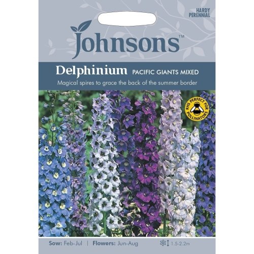 Johnsons Seeds - Pictorial Pack - Flower - Delphinium Pacific Giants Mixed - 100 Seeds