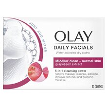 Olay Daily Facials 5-in-1 Water Activated Dry Cloths - Micellar Clean for Normal Skin with Grapeseed Extract - Pack of 6