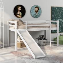 Cabin Bed Frame Bunk Bed for Kids with Adjustable Ladder and Slide