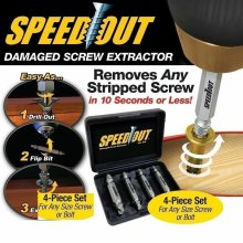 4 PCS Speed Out Screw Extractor Tool Set Drill Bits Broken Damaged Bolt Remover