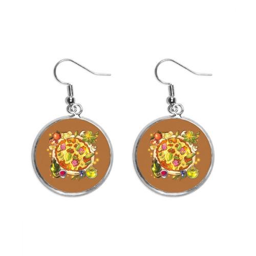 Vegetable Pizza Italy Foods Tea Ear Dangle Silver Drop Earring Jewelry Woman