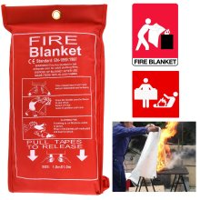Home Safety Fire Blanket Large 1m x 1m In Case Kitchen Quick Release Protection