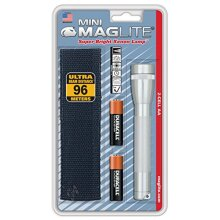 Maglite Mini Incandescent 2-cell AA Flashlight with Holster, Silver