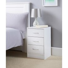 Lokken 3 Drawer Bedside Table Perfect For Storing Clothing and Essentials - White