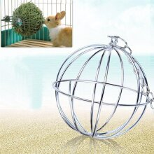 Stainless Steel Pet Rabbits Toys Round Sphere Feed Dispense Exercise Hanging Straw Ball For Guinea Pig Hamster Rat