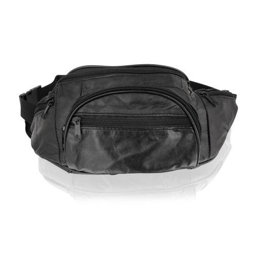 "Woodland Leather Black Waist Bag 14.0"" Multi Pocket Adjustable Strap"