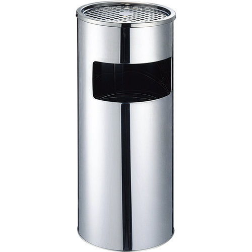 17L Round Stainless Steel Ashtray Stand for Cigarette, Rubbish & Waste