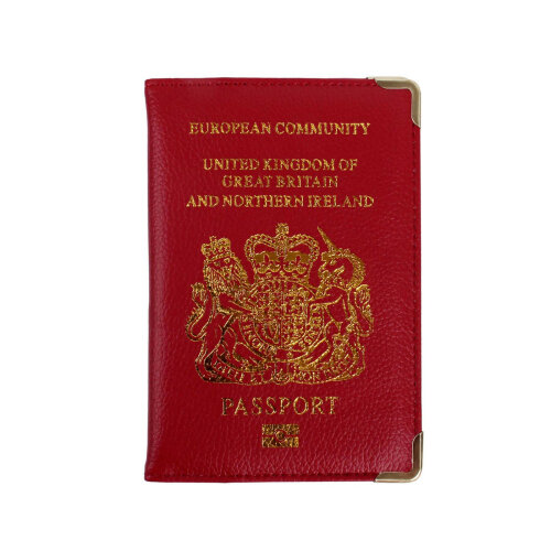 New UK Passport Holder Protector Cover Wallet PU Leather- Red