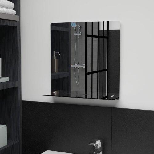 vidaXL Wall Mirror with Shelf Tempered Glass Wall Unit Home Bathroom Bedroom