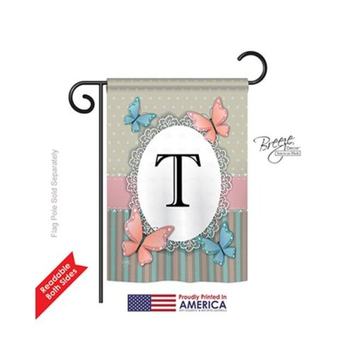 Breeze Decor 80150 Butterflies T Monogram 2-Sided Impression Garden Flag - 13 x 18.5 in.