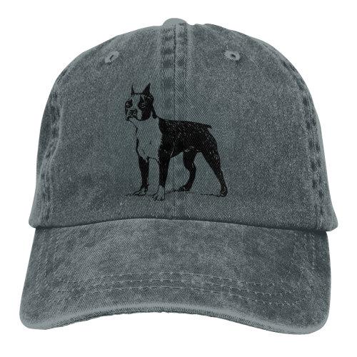 Boston Terrier Drawing Denim Baseball Caps