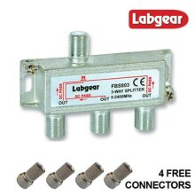 Labgear Powerpass F Type Cable Splitter 5-2400Mhz TV Aerial Sky Freeview Virgin