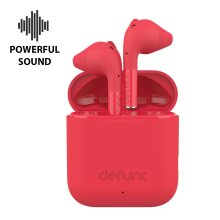 Defunc TRUE GO Slim Wireless Head Phones| Dual microphone EarPods(Red)