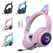 LED RGB Gaming Wired Cat Ear Headphones Headset Detachable Microphone Pink Adult or Kids 3.5mm