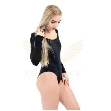 Women Round Neck Long Sleeve Viscose Black Leotard Swimming Ballet Dress