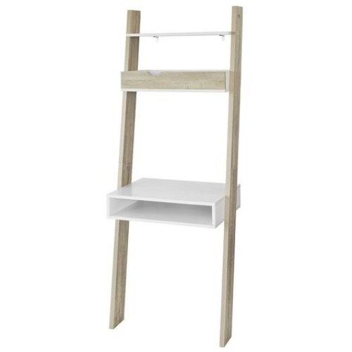 SoBuy FRG111-WN Ladder Shelves & Workstation | Ladder Desk With Drawer