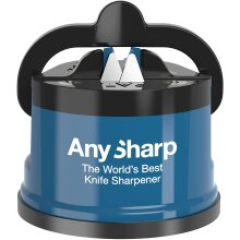 Knife Sharpener With PowerGrip For All Knives Safely & Hands Free