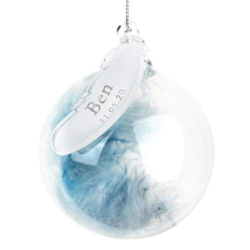 Personalised Feather Glass Bauble - Name & Date